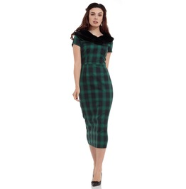 Voodoo Vixen Rachel Tartan Pencil Dress With Fur Collar