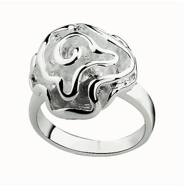 Gorgeous Classic Silver Plated Thick Frozen Frosted Rose Flower Swirl Ring