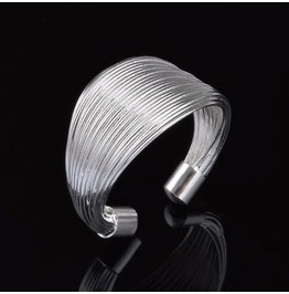 Elegant Classic Silver Plated Gathered Adjustable Ladies Open Thumb Ring