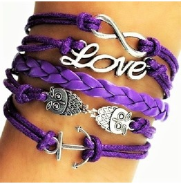Boho Owl Infinity Love Purple Leather Braided Wrap Bangle Bracelet