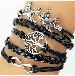Boho Infinity Birds Life Tree Black Leather Braided Wrap Bangle Bracelet