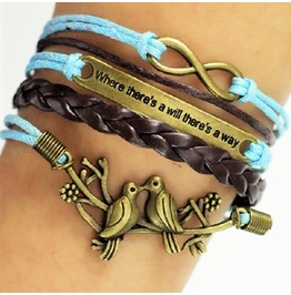 Boho Multilayer Infinity Birds Love Birds Leather Wrap Bangle Bracelet