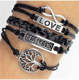 Boho Infinity Life Tree Leather Wrap Bangle Love Friendship Bracelet