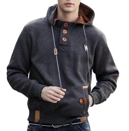 Warm Fleece Fashion Hoodie Polo Men's Hoodie Jacket Big Buttons Design