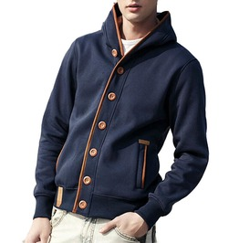 Big Button Through Design Warm Fleece Fashion Polo Men's Hoodie Jacket