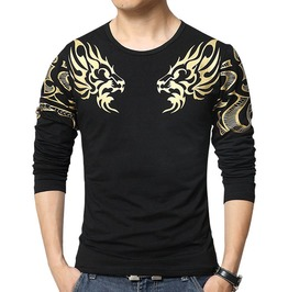 Slim Fit Dragon Print Long Sleeve T Shirt Men Plus Size