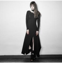 Punk Rave Women's Punk Halterneck Long Sleeved Slit Maxi Dress Black Pq192