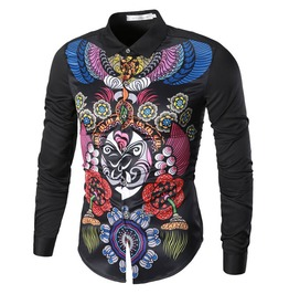 Japanese Art Tattoo 3 D Print Slim Fit Long Sleeve Dress Shirt