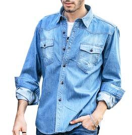 Light Blue Long Sleeve Denim Shirt Men