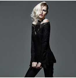Punk Rave Women's Gothic Off Shoulder Floral Lace Long Sleeved Tops T401