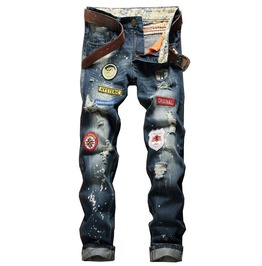 Slim Fit Distressed Ripped Patchwork Vintage Blue Jeans Men
