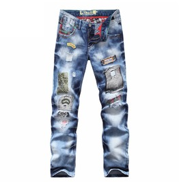 Straight Regular Fit Light Wash Distressed Ripped Patchwork Denim Jeans Men