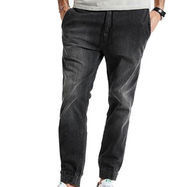 Slim Fit Drawstring Light Wash Jogger Jeans
