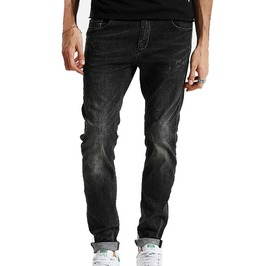 Enzyme Wash Scratched Slim Fit Black Denim Jeans Men