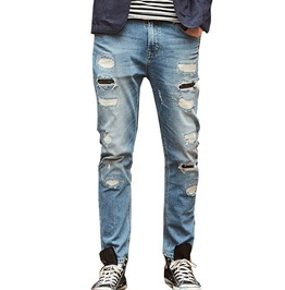 Slim Fit Distressed Ripped Hole Denim Jeans Men