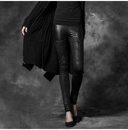 Punk Rave Women's Punk Zipper Faux Leather Leggings Pk025