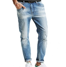 Slim Fit Distressed Ripped Ankle Length Denim Jeans