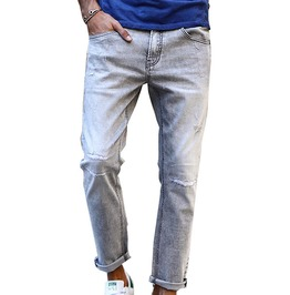 Slim Fit Scratched Worn Fashion Vintage Denim Jeans Men