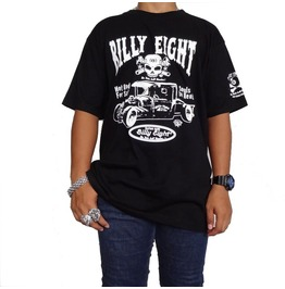 Billy Eight Large Hot Rod Skull Retro Rockabilly Mens Silk Screened T Shirt