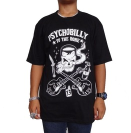 Psychobilly Large Guitars, Skull Retro Rockabilly Mens Silk Screened T Shir