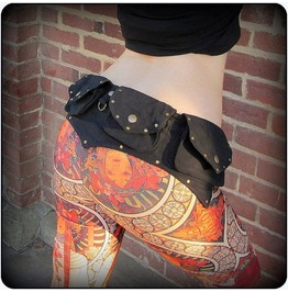 Studded 4 Pocket Canvas Utility Belt Bag