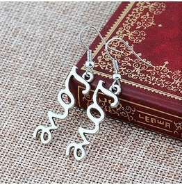 Retro Antique Silver Plated Love Letter Drop Dangle Fishhook Earrings