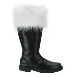 Dark Santa Claus Christmas Costume Shoes Black Winter Fur Boots