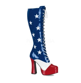 Usa Flag 4th Of July Burlesque Cosplay Super Hero Gogo Boots