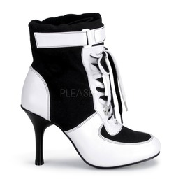 Harley Quinn Black White Gangster Mafia Costume Cosplay Ankle Boots