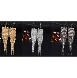 Crystal Rhinestone Long Chain Drop Dangle Tassel Hook Linear Earrings