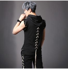 Mens Punk Rock Rope Lace Up Style Sleeveless Hooded T Shirts