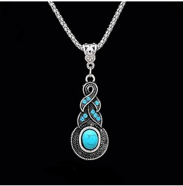 Ethnic Tibetan Silver Wrap Blue Crystal Round Turquoise Pendant Necklace
