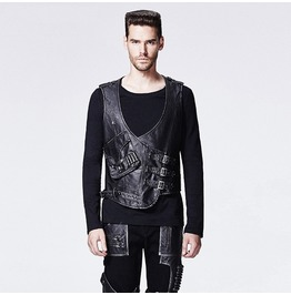 Punk Rave Men's Punk Faux Leather Tooling Vest Y598