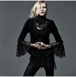 Punk Rave Women's Gothic Plunging Lace Sleeve Velvet Jacket Y583