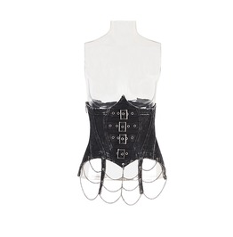 Women's Punk Buckle Up Metal Chain Denim Underbust Corsets Y578