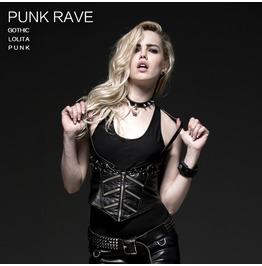 Punk Rave Women's Vintage Zipper Faux Leather Underbust Corset Tops Y 523