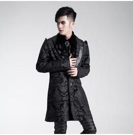 Punk Rave Men's Gothic Jacquard Overcoat Y448