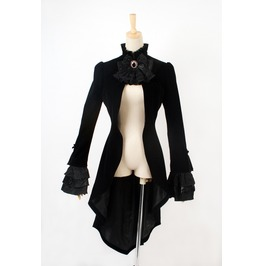 Punk Rave Women's Gothic Swallow Tail Lace Up Long Coat Collar Flower Y334