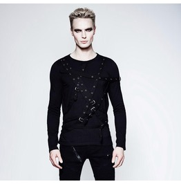 Punk Rave Men's Multi Straps Long Sleeve Shirts T441