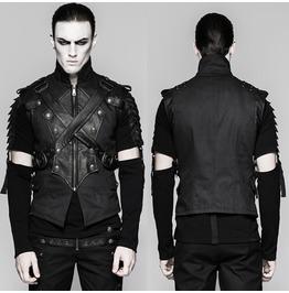 Men Steampunk Black Vest Gothic Abysm Armor Vegan Leather Contrasts Vest