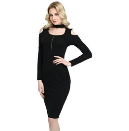 Long Sleeves Off Shoulder Bodycon Dress