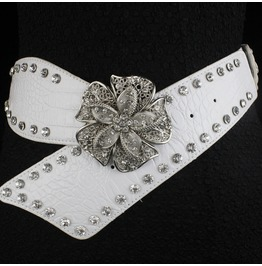Faux Diamond Leather Belt,High Fashion Flower Women Rivets Belt