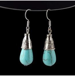 Boho Ethnic Tibetan Silver Turquoise Gemstone Waterdrop Hoop Drop Earrings