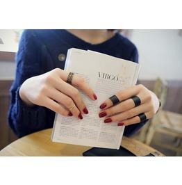 3 Gothic Black Rings Set Adjustable To Any Size Finger ~ Set 1