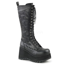 Black Skull Detailed Gothic Boots