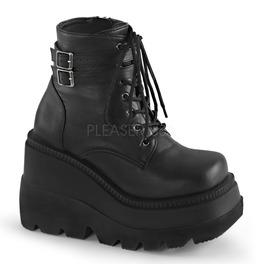 Black Gothic Punk Platform Wedge Boots