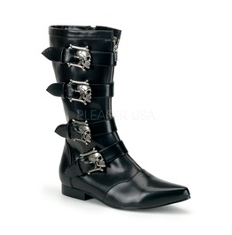 Gothic Punk Winklepicker Vampire Skull Buckles Pointed Toe Boots Brogue 107