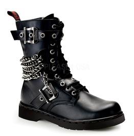 Gothic Mens Punk Rock Biker Chains Buckles Combat Boots ( Defiant 204 )