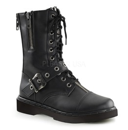 Biker Combat Army Lace Up W/Buckle Strap Ankle High Boots ( Defiant 206 )