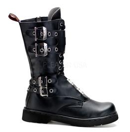 Goth Punk Rock Biker Steel Plate Black Combat Boots